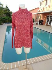 ARMANI COLLEZIONI RED WHITE OVERSIZE LONG SLEEVE KNIT SWEATER Sz L MADE IN ITALY