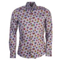 """STENSTROMS Shirt Blue Floral Cotton Size 44cm / 17.5"""" Collar RRP £159 TR 334"""