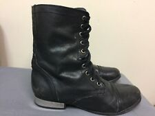 STEVE MADDEN Women 'Troopale' Black Leather Combat Boots Size 8M