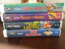 Disney 'Black Diamond' Vhs Robin Hood, 101 Dalmatons, Fox & Hound, Beauty & Beas 00006000