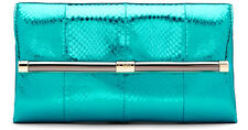 NEW Authentic DVF Diane von Furstenberg Teal 440 Envelope Metallic Snake Clutch