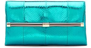 NEW Authentic DVF Diane von Furstenberg Teal 440 Envelope Metallic Snake Clutch