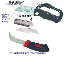Carabiner Multitool Razor Knife + Five Blades+ 8 ''LINOLEUM Knife Central Force.