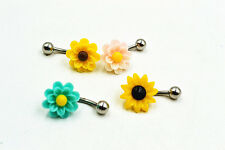Lot50pcs Flowers Navel Rings Belly Bars Navel Button Barbells mix Colors NEW