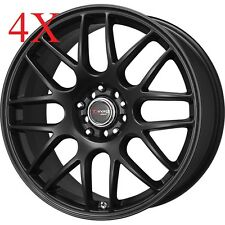 Drag Wheels DR-34 15x7 4x100 4x114 Flat Black Rims For Altima Prius xb Accord Cl
