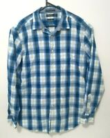 Nautica Mens Shirt Size L Classic Fit Blue White Plaid Long Sleeve Button Up