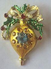 Vintage Christmas Tree Ornament Enamel Rhinestone Brooch Pin Red Tone Jewelry s