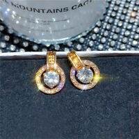 925 silver Zircon Dop Dangle Hoop Korea Earrings Gold Round Jewelry