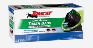 Tomcat MINT-X Dual-Action TRASH BAGS 30 Gal 26pk BLACK Raccoon Rodent Neutralize