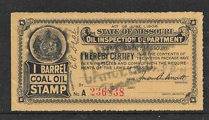 HICK GIRL- USED U.S. STATE REVENUE    MISSOURI  1 BARREL COAL OIL TAX     A1