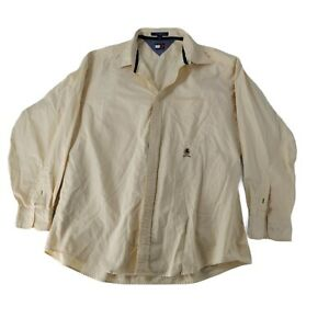 Tommy Hilfiger Mens Size 16 1/2 Button Up Collared Shirt Long Sleeves Yellow