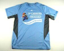 Rare Nintendo Mario Promo T-Shirt Large Mario Dry Fit Sponsored Blue Medium