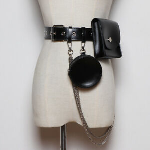 Medieval ladies leather belt bag cosplay metal chain accessory retro