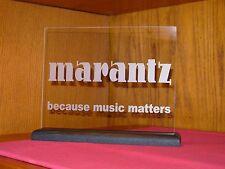MARANTZ ETCHED GLASS SIGN W/BLACK OAK BASE