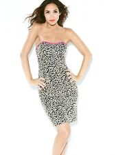 Myleene Klass Black Leopard Print Design Dress -Sz 12 Brand New - Pink Trim
