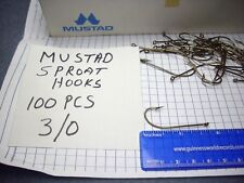 Mustad  Sproat Hooks, Size 3/0,  100 pieces, Norway,  (New Other)