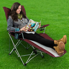 Reclining Folding Camping Chair With Footrest Stool Beach Chaise Lounge Outdoor