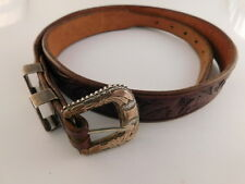 Sterling Hand Tooled Leather Belt & Buckle Signed Alc Mexico Guadalajara 2 Slide