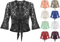 Womens Ladies Plus Size Floral Sequin Lace 3/4 Flared Sleeve Tie Shrug Cover Up