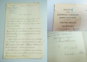 Société Des Artistes Français: Lettre 1887, Peintre Edouard Garnier (1840-1903)