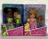 "Disney Petite Princess Tiana & Aurora Dolls 6"" Disney Doll Set of 2 Figures NIB"