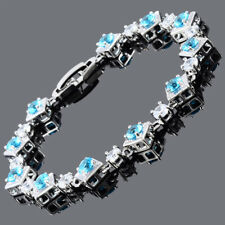Gift Jewelry 18K White Gold Plated Cubic Zirconia Aquamarine Tennis Bracelet