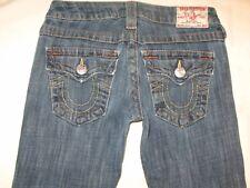 True Religion Jeans Women Billy Slim Straight Leg Flap Pocs Sz 25
