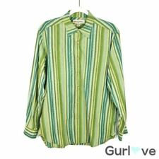 Tommy Bahama Men's Shirt Size S Green Button Down Striped Casual