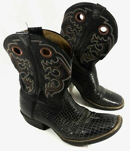 Youth Ariat 4LR Croc Embossed Square Toe Western Boots Black Leather Sz 6