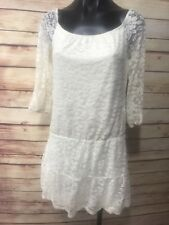 AUW Womens Size M Cream Lace Tiered Dress Long Slv Boho Peasant Lined Short