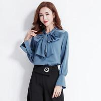 b119cdcdb Women s Long Sleeves Bow Tie Silk Shirt OL Slim Fit Solid Color Tops Blouses