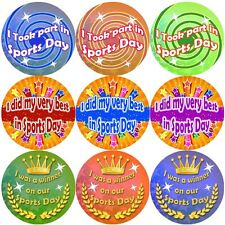 144 Sports Day Stickers - School themed teacher reward stickers - Size 30mm