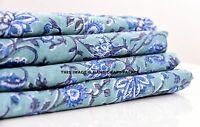 5 Yard Indian Hand Block Print Running Loose Cotton Fabric Dressmaking Handmade