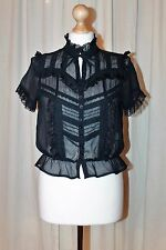 BNWT River Island Navy Lace High Neck Victorian Gothic Steampunk Blouse Top 12