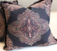 "Throw Pillow Made from Ralph Lauren Black Paisley and Rabbit Fur Trim, 19"" sq"