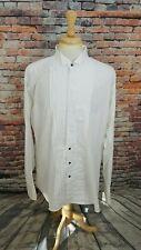 Gitman Bros USA Men White Pleated Tux Tuxedo Bib French Cuff Dress Shirt 18 37