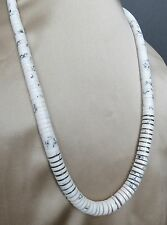 Fine sterling silver white buffalo turquoise heishi bench bead Navajo necklace