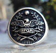 Solid Sterling Silver 925 Heavy 3D SPQR Roman Soldiers Legion Roman Empire Ring