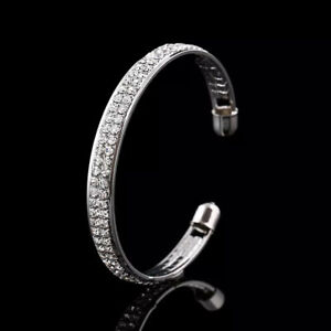 SILVER  PLATED BANGLE MADE WITH CLEAR SWAROVSKI CRYSTALS  BRACELET GIFT GPB