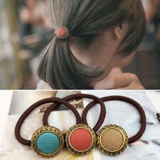 4X Retro Cloth Button Hair Holders Rubberband Elastics Girl Hair Accessories UK