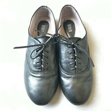 BLOCH Gunmetal Metallic Leather Lace Up Oxfords 37 EUR
