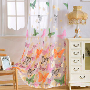 Floral Butterfly Sheer Voile Curtains Tulle Shade Curtain Window Decor With Hook