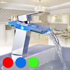 Bathroom Sink LED Waterfall Faucet 3 Colors Temperature Control Light Mixer Tap