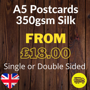 A5 Postcard - (210mm x 148mm) Printed Single or Double Sided on 350gsm Silk Card