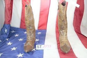 Stivali (Cod. ST1733) USATO N.38 DONNA Pelle marroni Cowboy Bikers country