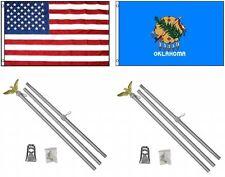 3x5 eeuu. AMERICANA & State of Oklahoma Bandera & 2 ALUMINIO Polo Kit SETS