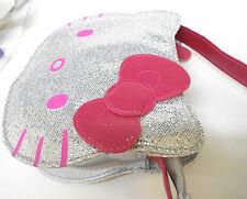 Hello Kitty DAZZLE DIE CUT HEAD CROSS BAG-SILVER Licensed - NEW