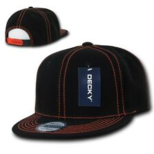 Black Orange Contra Stitch Plain Blank Solid Snapback Classic Flat Bill Hat Cap