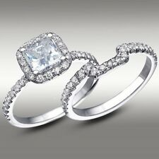3.30 Ct Cushion Halo Lab Engagement Ring & Matching Band 14K Solid White Gold