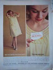 1962 Vintage Seamprufe Womens Lingerie Gown Kodel Yellow Fabric Fashion Ad